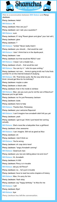 A conversation between Percy Jackson and Will Solace