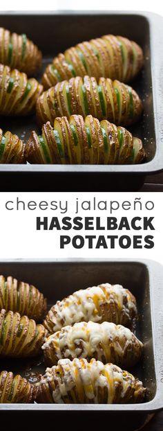 Cheesy Jalapeño Hasselback Potatoes with Avocado Cream Sauce   @sweetpeasaffron