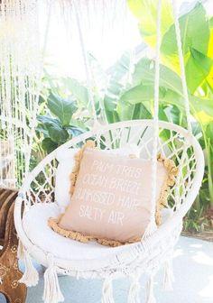 Siège blanc rembourrage pour chaise hamac en macramé suspendus