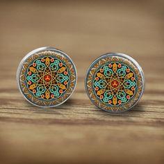 Stud Earrings – Mandala Blue Green Yellow Mosaic Stud Earrings – a unique product by MadamebutterflyMeagan on DaWanda