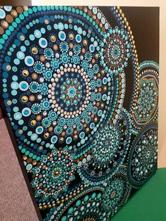 Ripple hand painted dot mandala painting on boxed canvas