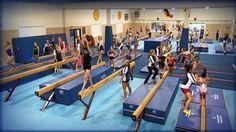The Beam Gym at International Gymnastics Camp complete with custom, interlocking #MancinoMats. #IGC