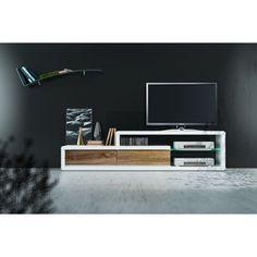 Stolik TV Led biały w wysokim połysku szafka RTV drewniane szuflady 180 cm