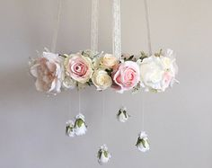 Blush floral chandelier with optional dangling roses, pink flower mobile, baby girl mobile, blush nursery mobile, pink crib mobile