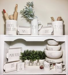 Display by Rae Dunn. Pour the jug. Baker will cook crock. ENJOY, B ., dekorieren hochzeitspaar Display by Rae Dunn. Pour the jug Kitchen Shelves, Kitchen Decor, Hobby Lobby Shelves, Rolling Pin Display, Coffee Bars In Kitchen, Small Space Interior Design, Display Shelves, Display Ideas, Bowl Set