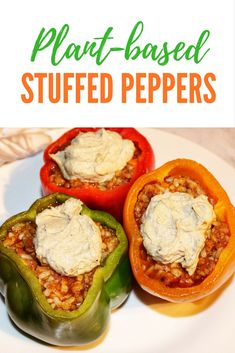 Plant-based Stuffed Peppers, Vegan, Dairy-free, Meat-free