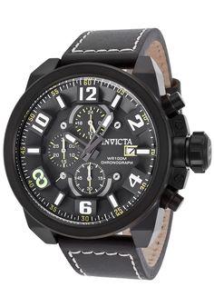 Invicta 18995 Watches,Men's Corduba Chrono Black Genuine Leather Black Dial, Diver Invicta Quartz Watches