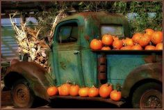 Autumn countryside - old trucks and pumpkins