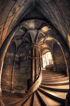 Spiral staircase at the Chateau de Blois, France. Gothic Architecture, Beautiful Architecture, Beautiful Buildings, Architecture Design, Stairs Architecture, Futuristic Architecture, Abandoned Mansions, Abandoned Places, Chateau De Blois