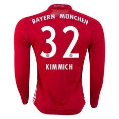 755b729aeb3 Bayern Munich 16 17 Joshua Kimmich Long Sleeve Home Soccer Jersey ☆ FC  Bayern Munich