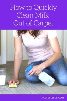 Learn how to clean and remove new and old milk stains from your carpet, and tips on how to get rid of the sour milk smell. #homeviable #carpetcleaning #vinegar #bakingsoda #DIY Cleaning Diy, Kitchen Cleaning, House Cleaning Tips, Deep Cleaning, All Natural Cleaning Products, Diy Cleaning Products, Cleaning Solutions, Best Cleaner, Pet Hair Removal
