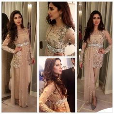 "mydesiwardrobe: ""Mahira Khan in a fabulous élan ensemble for the premiere of her latest movie, Bin Roye. Pakistani Wedding Outfits, Pakistani Dresses, Indian Dresses, Indian Outfits, Shadi Dresses, Pakistani Couture, Pakistani Dress Design, Mahira Khan Dresses, Walima Dress"