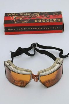 vintage Cesco amber goggles in original box - steampunk workshop, motorcycle / aviator safety glasses