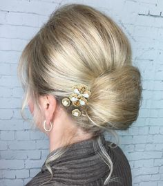 Formal Low Bun With A Bouffant