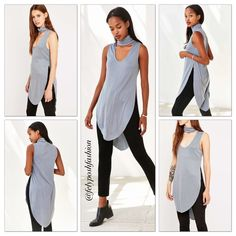 Urban Outfitters S+N Plunging Turtleneck Tank Top Urban Outfitters Silence + Noise Plunging Turtleneck Tank Top- Blu. Better than basic turtleneck tank top from modern brand Silence + Noise. Soft + stretchy ribbed knit cut in a long silhouette featuring high side slits and a raw-edge curved hem. Finished with a deep scoop opening under a folded turtleneck. UO exclusive. Urban Outfitters Tops