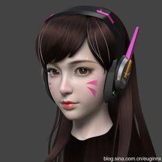 Dva_Wip Character Modeling, 3d Character, Character Design, Cartoon Faces, Girl Cartoon, Female Anime, Female Art, Girl Face, Woman Face