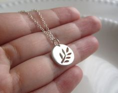 Sterling Silver Disc Necklace, sterling silver botanical disc, simple dainty necklace, minimalist jewelry on Etsy, $29.00