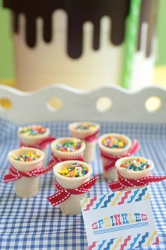 """ice cream party-using cones for serving """"dishes"""" for toppings. LOVE!"""