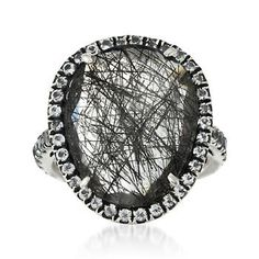 Tourmalinated Quartz and 1.60 ct. t.w. White Topaz Ring in Sterling Silver