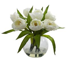 Tulips Arrangement with Vase Transitional Faux Floral / Plant Nearly Natural…