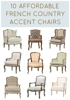It doesn't have to cost a fortune to buy gorgeous French Country chairs! These 10 affordable accent chairs cost less than $500 each, with many closer to $300! Amazing collection!! Add French charm to your living room now! Complete source list with direct links to buy now | #Designthusiasm.