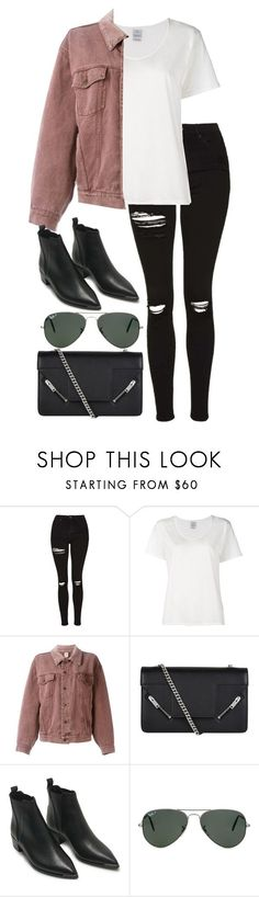 """Untitled #2879"" by elenaday ❤ liked on Polyvore featuring Topshop, Visvim, Moschino, Yves Saint Laurent, Acne Studios and Ray-Ban"