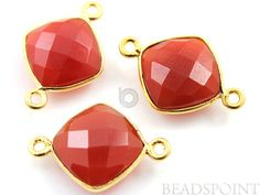 Natural Carnelian Bezel Cushion Shape Gemstone by Beadspoint, $7.99