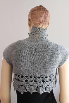 Hand Knitted Crocheted Grey Shrug Bolero Fall by levintovich