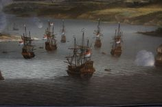 Willem Schelliks painted this scene in 1668  The Dutch fleet destroys the British fleet at Chatham on the river Medway.1667.