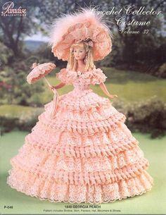 PDF Crochet Barbie Peach Dress Barbie Gown Crochet by PDFsPatterns
