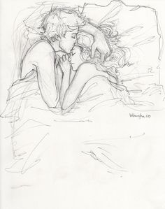 drawing, love, couple, bed, black and white, kiss