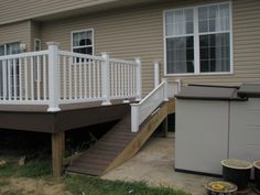 Dog ramp for deck Victorian Porch, Pet Ramp, Dog Yard, Outdoor Living, Outdoor Decor, Outdoor Ideas, Backyard Landscaping, Backyard Patio, Landscaping Ideas
