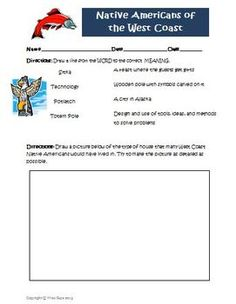Here's a very simple page (appropriate for ELL students) to use when studying Native Americans of the West Coast.