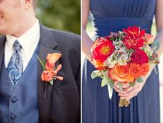 I have Navy and red already....but I'm thinking some pops of orange and silver or gold would be perfect for our October Nebraska Wedding!