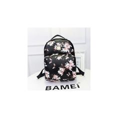 Faux Leather Floral Print Backpack ($40) ❤ liked on Polyvore featuring bags, backpacks, accessories, black rucksack, faux leather backpack, floral rucksack, flower print backpack and vegan bags