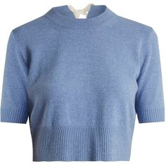 Altuzarra Tuileries tie-neck cropped sweater (31.130 RUB) ❤ liked on Polyvore featuring tops, sweaters, light blue, altuzarra, neck tie top, round neck crop top, blue neck tie and blue sweater