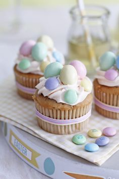 Dress up your Easter cupcakes by using store bought candy.