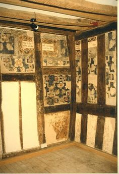 """"""" The Century painted room in Herefordshire, was discovered in the town council offices (circa century) in whilst major restoration work was being carried out. One of the best examples. Hand Painted Wallpaper, Painted Walls, Ceiling Painting, Medieval Furniture, Scenic Wallpaper, Leather Wall, Herefordshire, Wall Paintings, Mosaic Projects"""