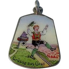 """Large Colorful Vintage Austrian Travel Charm """"Greetings From Graz"""" from stonefruitestate on Ruby Lane"""