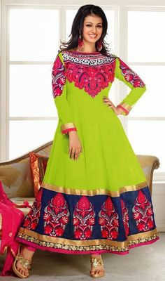 Look gorgeous like as Ayesha Takia, owning this lime green embroidered georgette Anarkali dress. The butta, lace and resham work seems chic and aspiration for any celebration.  #LatestBollywoodFancyAnarkaliDress