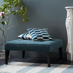 Upholstered Tufted Ottoman #westelm http://www.westelm.com/products/upholstered-tufted-ottoman-h419/?pkey=cliving-room-seating&cm_src=living-room-seating||NoFacet-_-NoFacet-_--_-