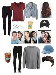 Gabriel and Jess Conte by jaydengonz on Polyvore featuring polyvore, Topshop, American Apparel, Frame, adidas Originals, Mudd, Giorgio Brato, Jack & Jones, fashion, style and clothing