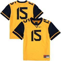 #15 West Virginia Mountaineers Nike Youth Replica Football Jersey - Gold - $54.99
