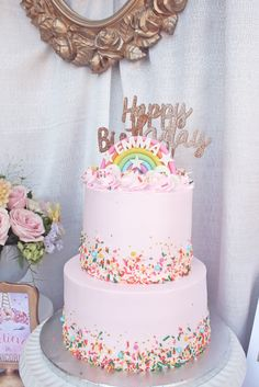Unicorn Birthday Party Rainbow cake from a Magical Unicorn Birthday Party on Kara's Party Ideas Pink Birthday Cakes, Rainbow Birthday Party, Unicorn Birthday Parties, Birthday Ideas, 1st Birthday Cake For Girls, 1st Birthday Cupcakes, 1st Birthday Balloons, Girls 3rd Birthday, Rainbow Parties