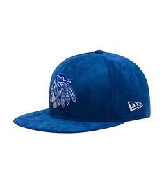 sports shoes a3921 ea162 NEW ERA MENS CHI BLACKHAWKS SUEDE SNAPBACK HAT Blue