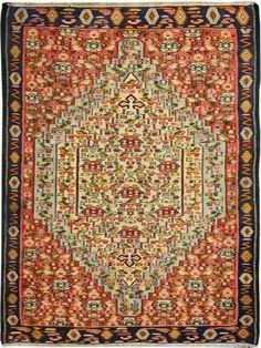 "Multi-colored Persian Kilim 3' 10"" x 5' 1"" (ft) http://www.alrug.com/10100"