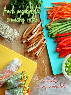 Fresh Vegetable Crunchy Rolls with Sriracha & Soy Sauce Tofu {served with a spicy-sweet peanut sauce!} - Gluten Free & Vegan | ilovevegan.com