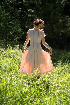 Delicate Pink Silk Dress... Beautiful Detailing... Princess Lines... ROSE PETAL (xs/Size 4)