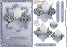 Snow Scene Flower Shaped Pyramage on Craftsuprint designed by Sandie Burchell - Beautiful A5 Flower-Shaped Pyramage. Sentiments include: Merry Christmas, Happy Holidays, Season's Greetings or use the Blank on the main design for your own peel-off lettering or stamp. A Tutorial is available please click on the mortarboard icon below. This design also has a matching insert sheet available -