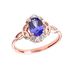 Tanzanite and Diamond 10k Rose Gold Trinity Knot Proposal Ring Size 55 ** Click on the image for additional details.Note:It is affiliate link to Amazon.